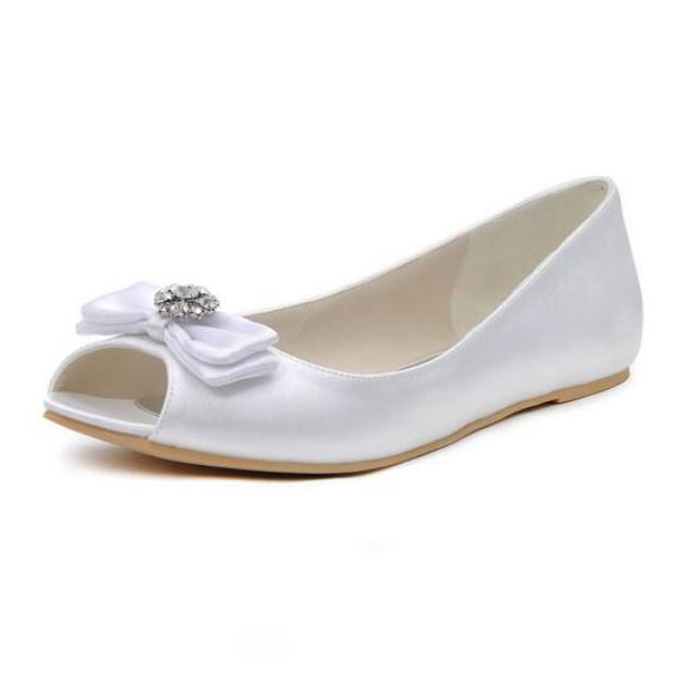 Flats Peep Toe Wedding Shoes Flat Heel Satin Wedding Shoes Bowknot Rhinestone