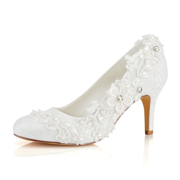 Close Toe Wedding Shoes Round Toe Stiletto Heel Lace Wedding Shoes With Appliqued Rhinestone Sequins
