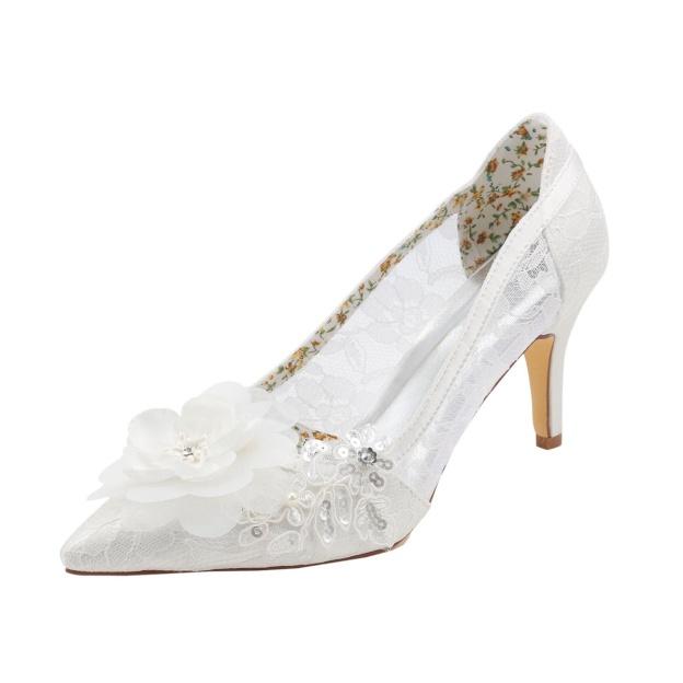 Close Toe Pumps Wedding Shoes Stiletto Heel Lace Wedding Shoes With Appliqued Flowers Sequins