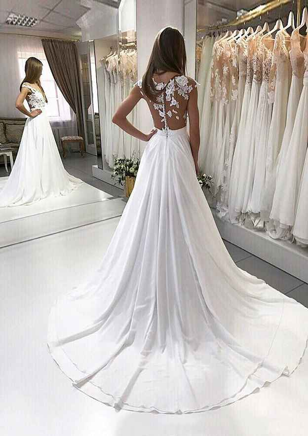 A-Line/Princess Sleeveless Bateau Court Train Chiffon Wedding Dress With Appliqued