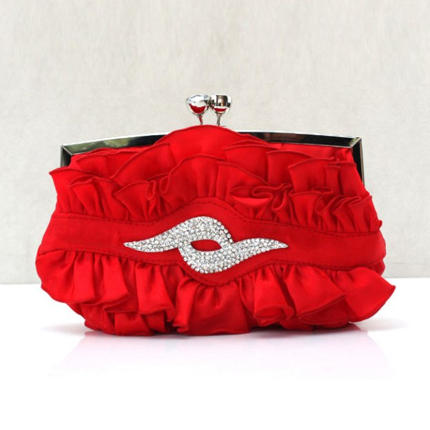 Silk Chain Clutches With Crystal/Rhinestone Ruffles