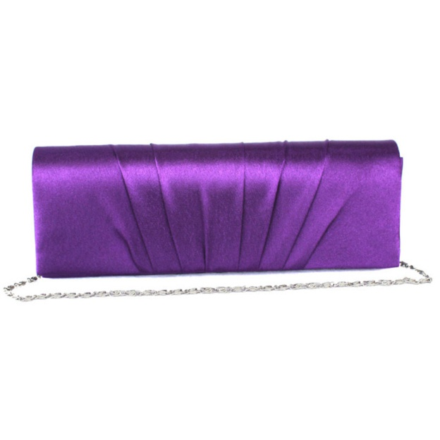 Silk Chain Clutches With Ruffles