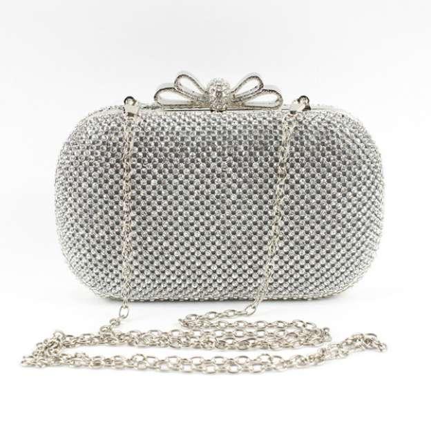 Metal Adjustable Bridal Purse With Crystal/Rhinestone