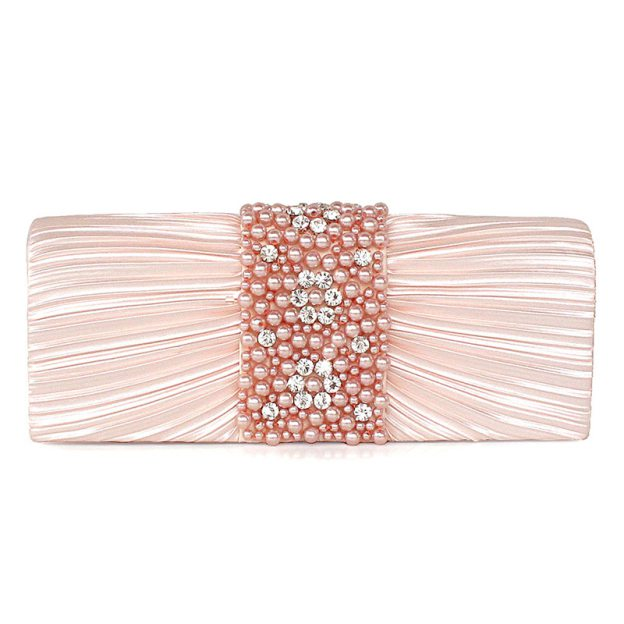 Imitation Pearl Ruffles Silk Chain Clutches With Imitation Pearl Ruffles