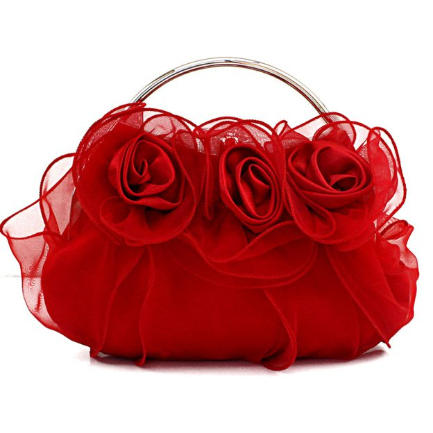 Tulle Handbag Without Strap Clutches With Flower