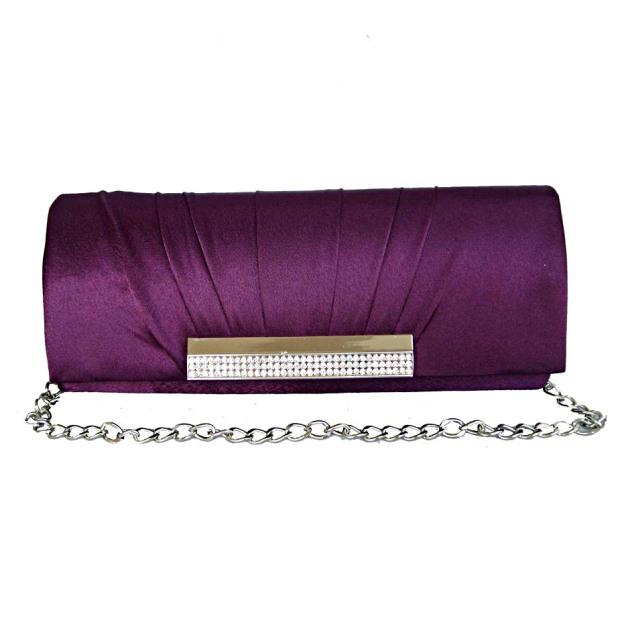 Silk Chain Clutches With Crystal Rhinestone Ruffles