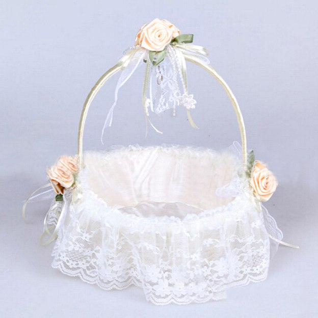 Lace White Flower Baskets With Flower