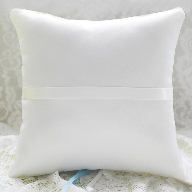 Wedding As Picture Satin Ring Pillows With Rhinestone Lace Bowknot Ribbons