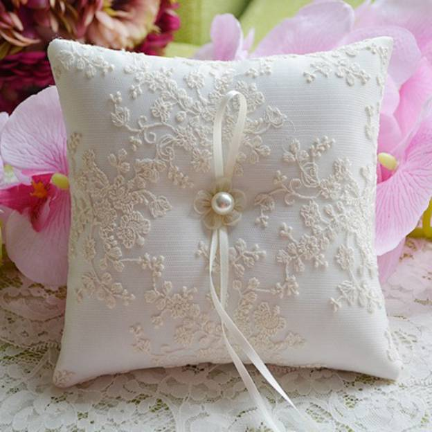 Wedding As Picture Lace Ring Pillows With Beading Ribbons