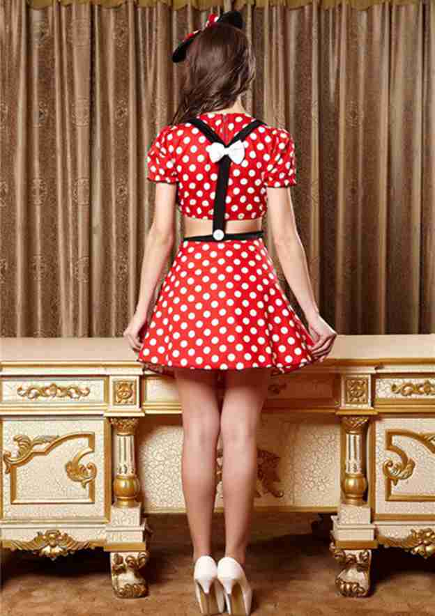 Polyester Female Sexy Costumes With Bowknot