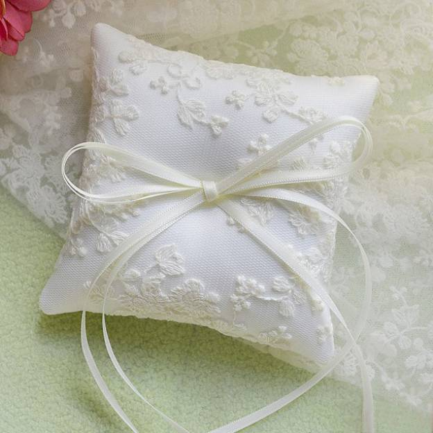 Wedding As Picture Lace Ring Pillows With Bowknot Ribbons