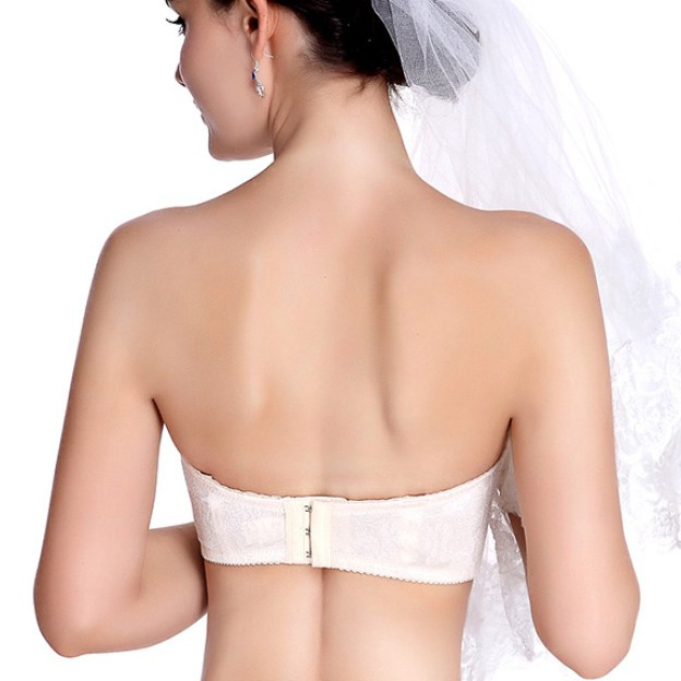 Back Closure 1/2 Cup Spaghetti Strap Lace Invisible Bras for Wedding Special Occasion