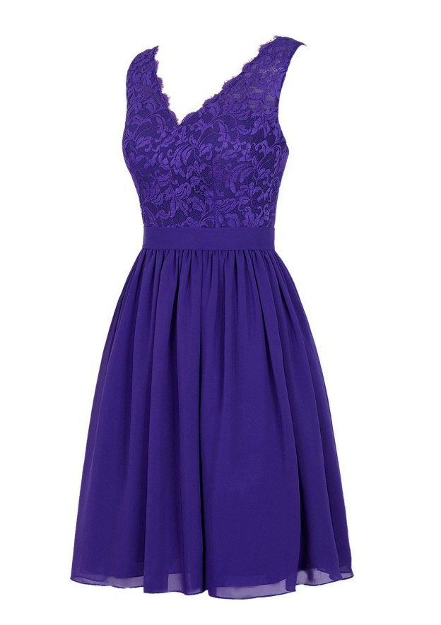 A-Line/Princess V Neck Sleeveless Knee-Length Chiffon Bridesmaid Dress With Lace