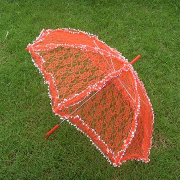 Lace Women'S Hook Handle Wedding Umbrellas