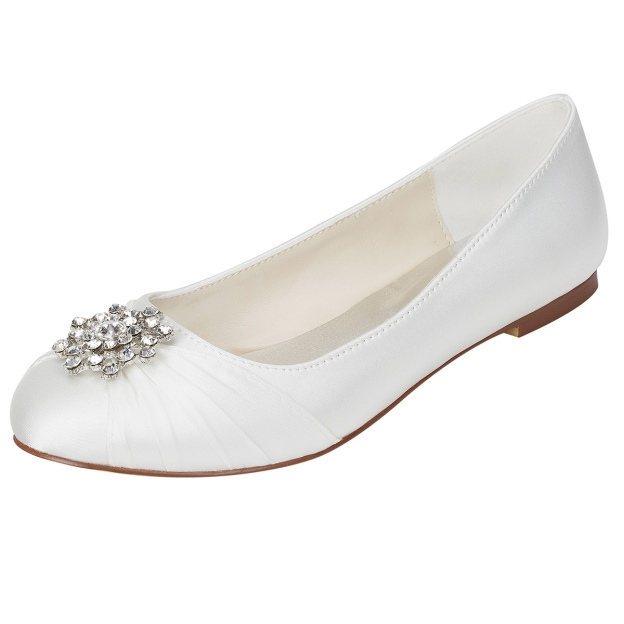 Close Toe Flat Heel Wedding Shoes With Rhinestone
