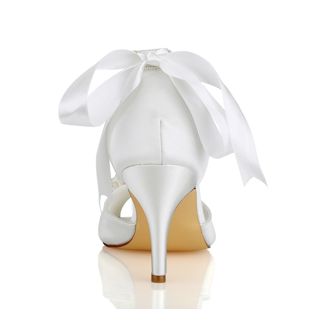 Peep Toe Sandals Stiletto Heel Satin Wedding Shoes With Flowers Imitation Pearl