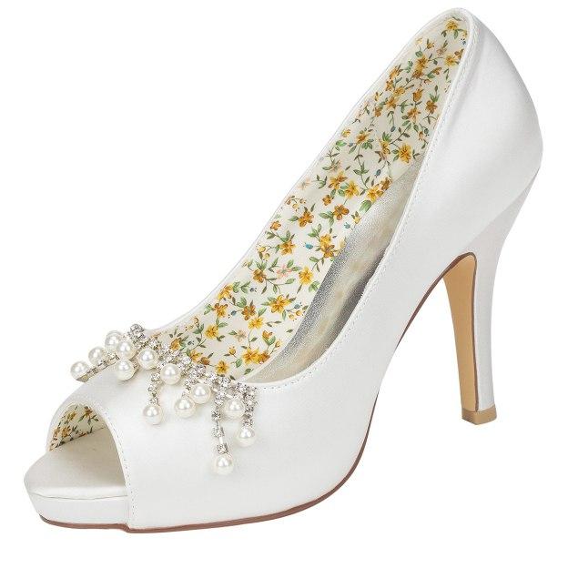Peep Toe Platform Stiletto Heel Charmeuse Wedding Shoes With Imitation Pearl
