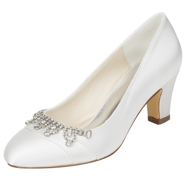 Close Toe Chunky Heel Charmeuse Wedding Shoes With Rhinestone