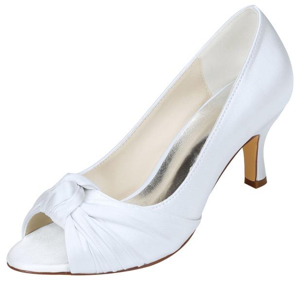 Peep Toe Stiletto Heel Charmeuse Wedding Shoes With Ruffles
