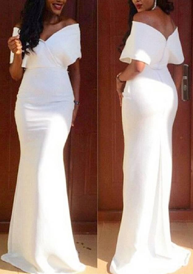 Sheath/Column Off-The-Shoulder Short Sleeve Sweep Train Elastic Satin Prom Dress