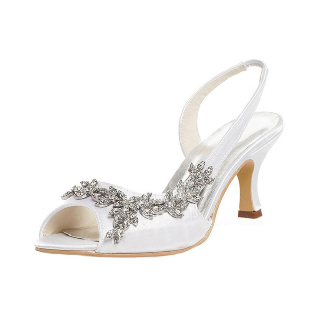 Sandals Spool Heel Satin Wedding Shoes With Beaded