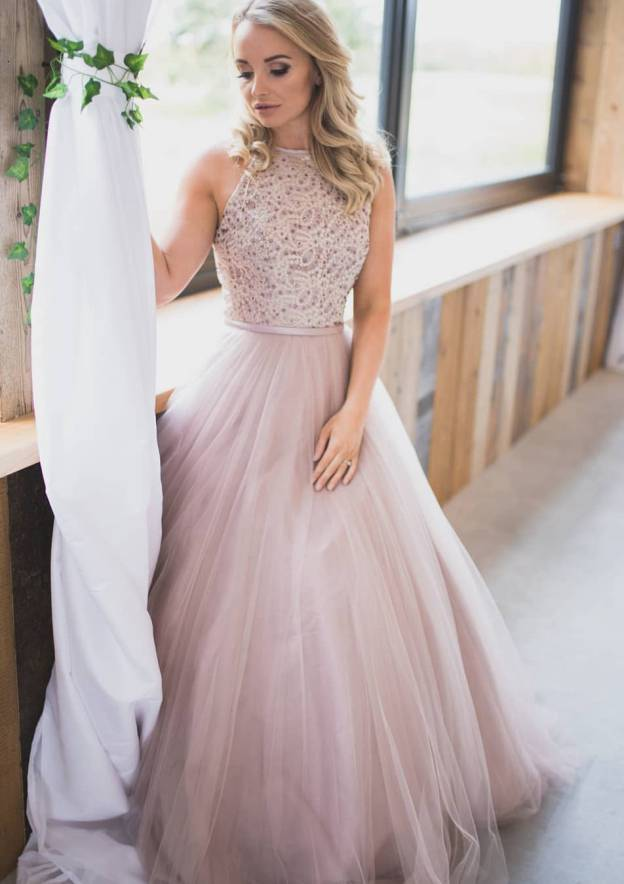 A-Line/Princess Scoop Neck Sleeveless Long/Floor-Length Tulle Prom Dress With Beading Lace