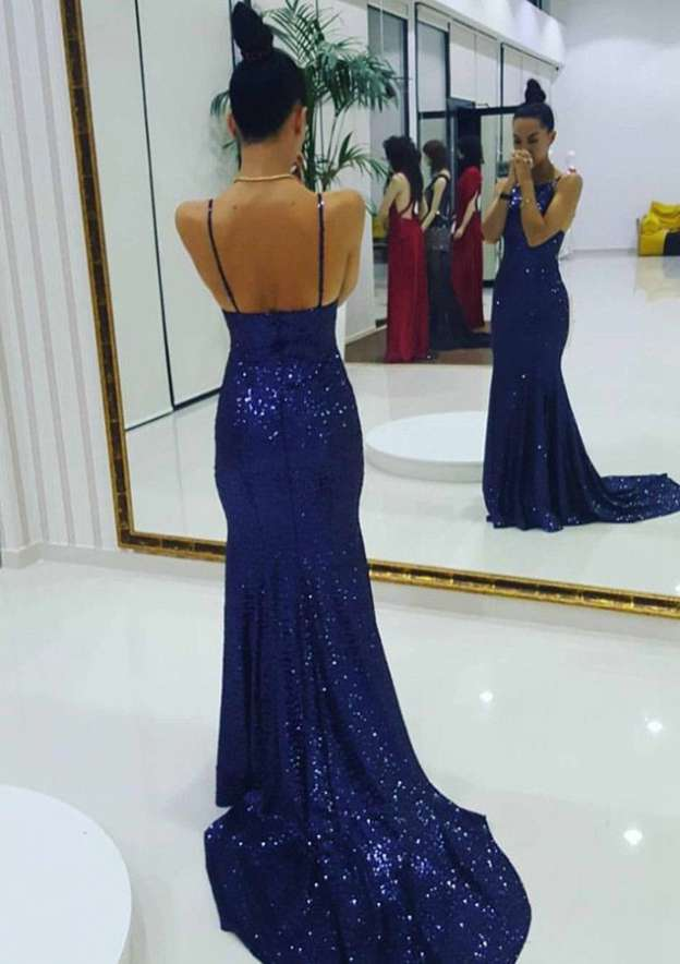 Sheath/Column Bateau Sleeveless Court Train Sequined Evening Dress With Pleated