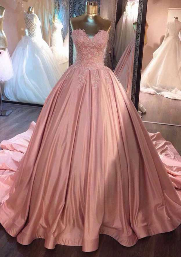 Ball Gown Sweetheart Sleeveless Chapel Train Satin Prom Dress With Pleated Lace