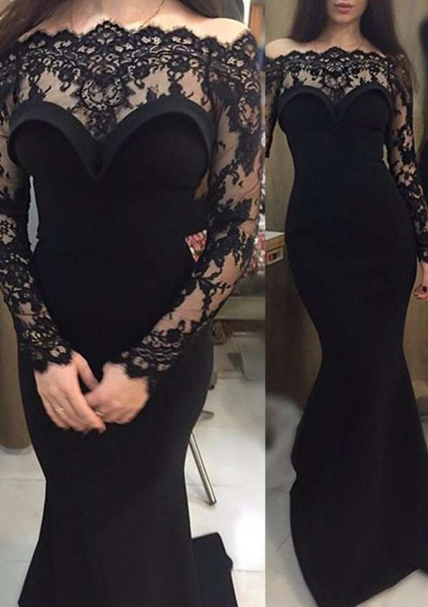 Trumpet/Mermaid Off-The-Shoulder Full/Long Sleeve Court Train Elastic Satin Evening Dress With Appliqued