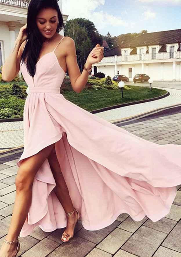 A-Line/Princess Sweetheart Sleeveless Asymmetrical Elastic Satin Prom Dress With Pleated