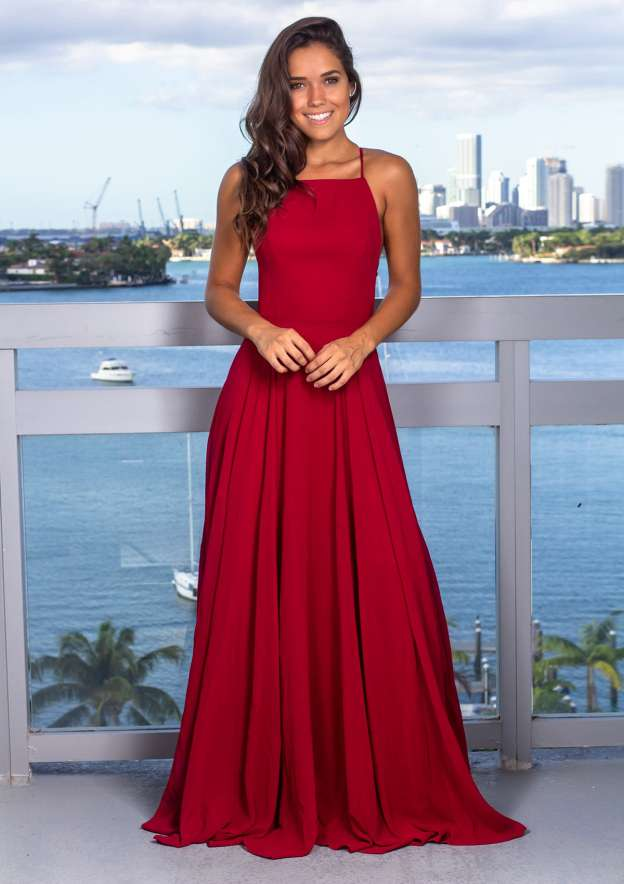 A-Line/Princess Square Neckline Sleeveless Long/Floor-Length Charmeuse Prom Dress With Pleated