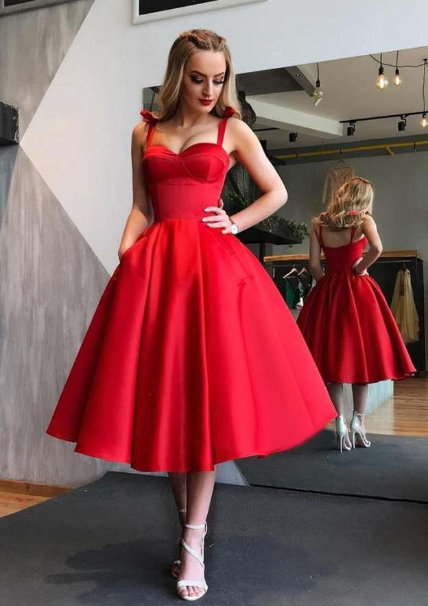 Ball Gown Sweetheart Sleeveless Tea-Length Satin Prom Dress With Pleated