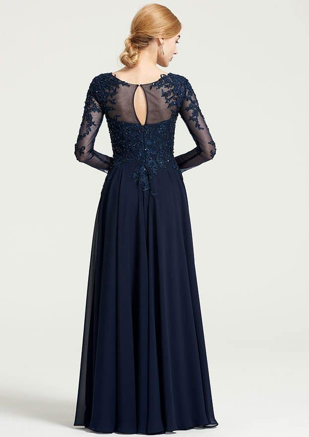 A-Line/Princess Bateau 3/4 Sleeve Long/Floor-Length Chiffon Dress With Beading Appliqued