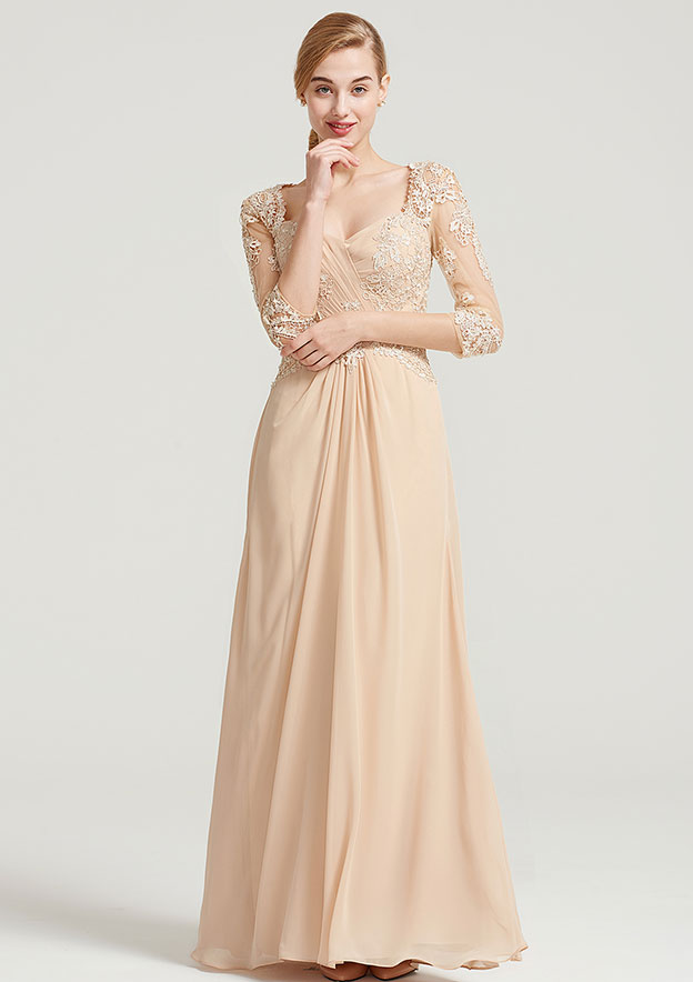 A-Line/Princess Sweetheart 3/4 Sleeve Long/Floor-Length Chiffon Dress With Pleated Appliqued