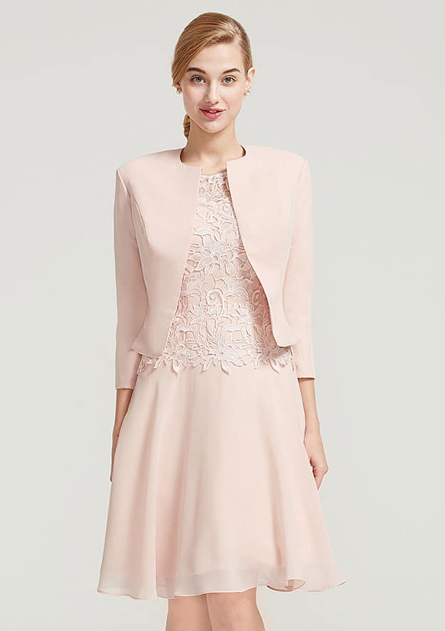 A-Line/Princess Bateau Sleeveless Knee-Length Chiffon Mother Of The Bride Dress With Lace Jacket