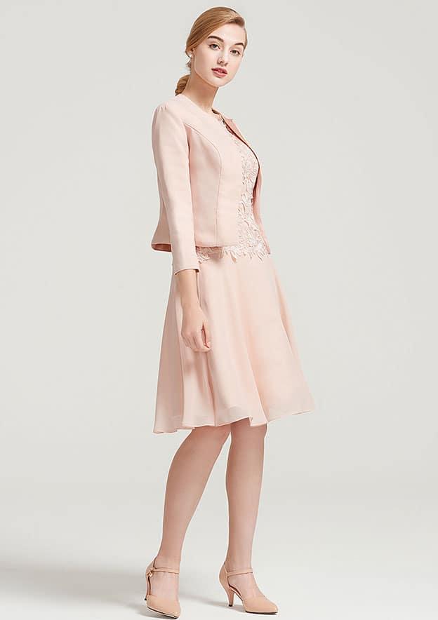 A-Line/Princess Bateau Sleeveless Knee-Length Chiffon Mother Of The Bride Dress With Lace Jacket