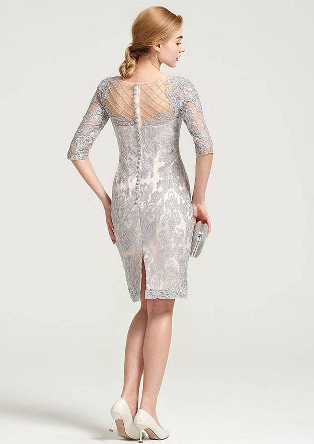 Sheath/Column Bateau Half Sleeve Knee-Length Chiffon Mother Of The Bride Dress With Jacket Beading