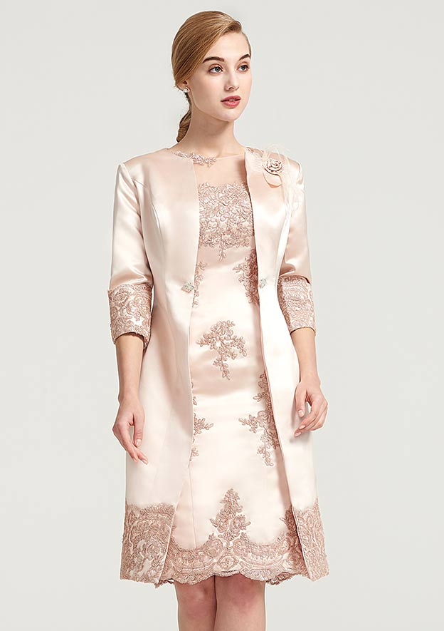 3/4 Sleeve Knee Length Satin Jacket With Appliqued Beading