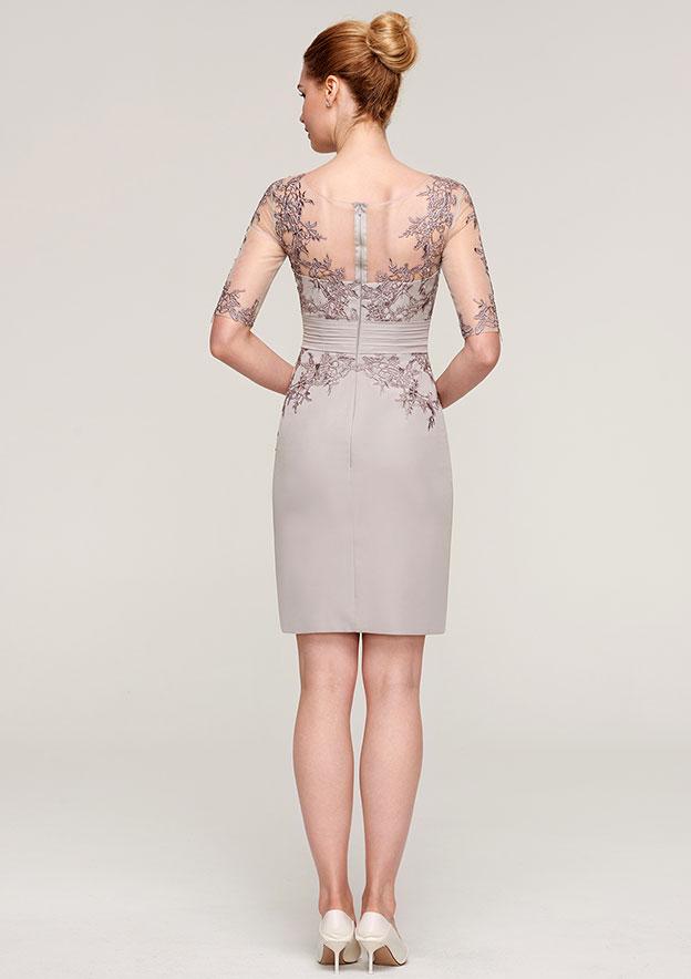 Sheath/Column Bateau Half Sleeve Knee-Length Elastic Satin Mother Of The Bride Dress With Jacket Appliqued Beading Pleated