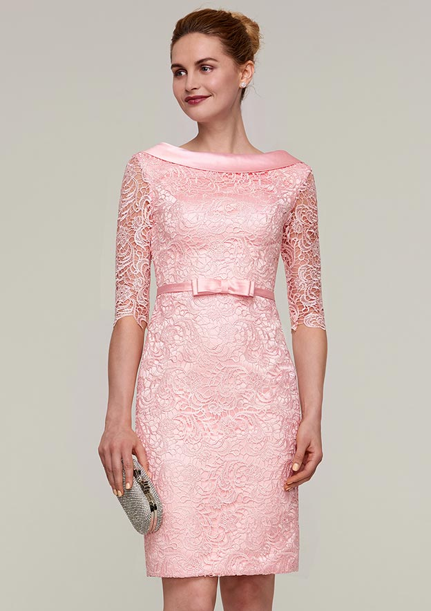 Sheath/Column Bateau Half Sleeve Knee-Length Lace Mother Of The Bride Dress With Waistband Bowknot