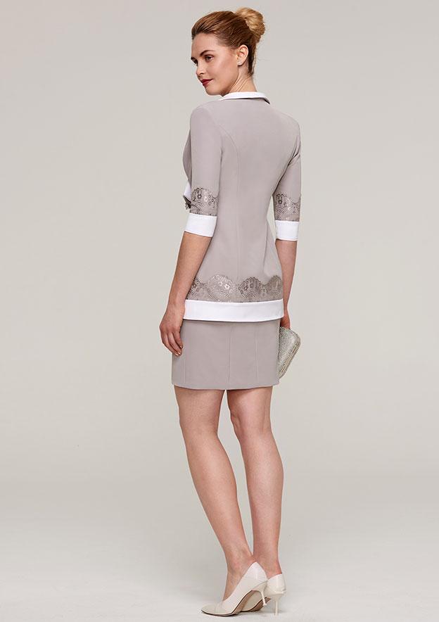 Sheath/Column Bateau Sleeveless Short/Mini Elastic Satin Mother Of The Bride Dress With Jacket Flowers Lace