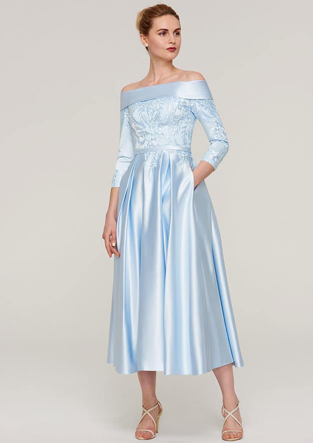 A-Line/Princess Off-The-Shoulder 3/4 Sleeve Tea-Length Satin Mother Of The Bride Dress With Appliqued Sashes
