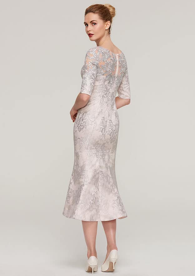 Sheath/Column Bateau Half Sleeve Tea-Length Lace Mother Of The Bride Dress With Appliqued