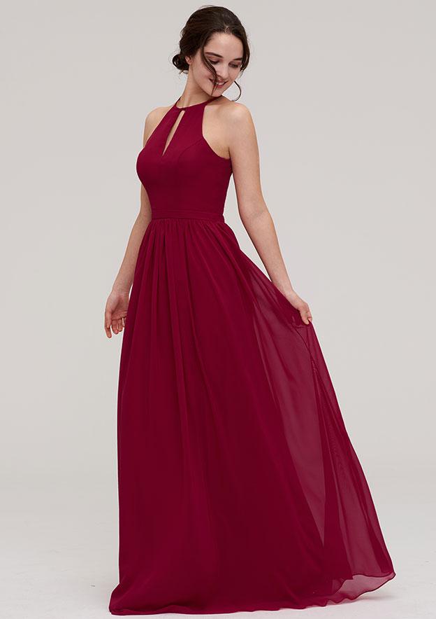 A-Line/Princess Scoop Neck Sleeveless Long/Floor-Length Chiffon Bridesmaid Dress With Pleated