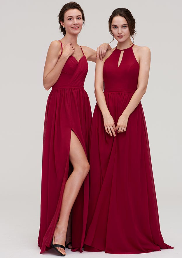 A-Line/Princess Sweetheart Sleeveless Long/Floor-Length Chiffon Bridesmaid Dress With Split Pleated