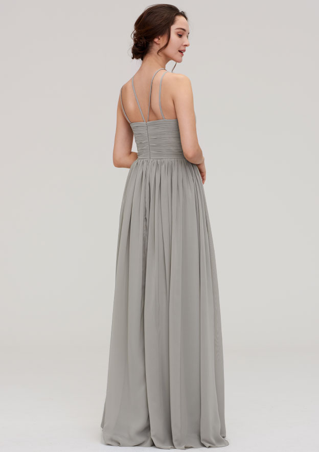 A-Line/Princess Halter Sleeveless Long/Floor-Length Chiffon Bridesmaid Dress With Pleated