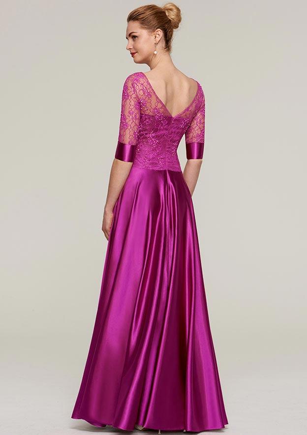 Sheath/Column Bateau Half Sleeve Long/Floor-Length Charmeuse Mother Of The Bride Dress With Lace