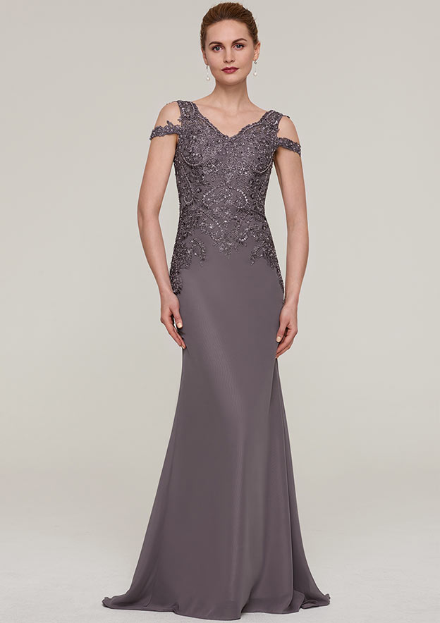 Sheath/Column V Neck Sleeveless Sweep Train Chiffon Mother Of The Bride Dress With Sequins Appliqued