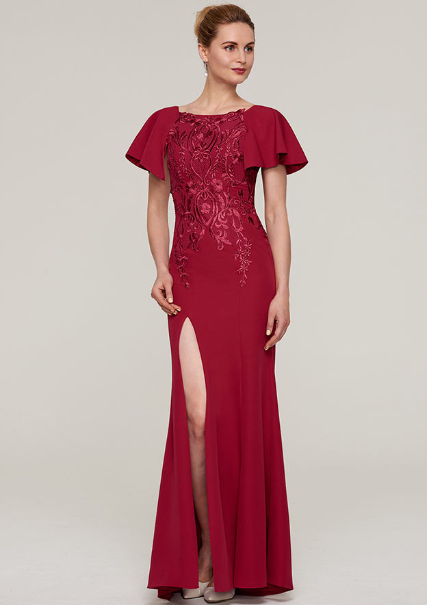 Sheath/Column Bateau Short Sleeve Long/Floor-Length Jersey Evening Dress With Split Appliqued