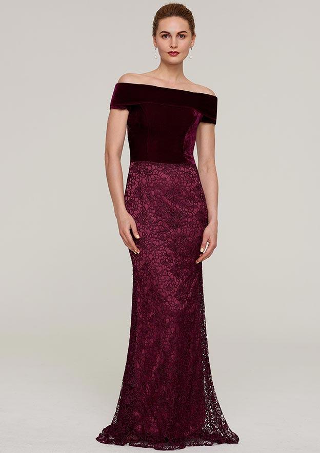 Sheath/Column Off-The-Shoulder Sleeveless Sweep Train Lace Evening Dress